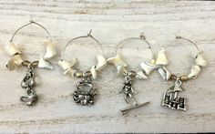 Beach Wine Charm Set of 4 Natural Shell Fine by SCashDesigns
