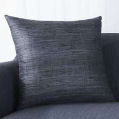 Shop Slate Blue Pillow.  Silk takes color beautifully revealing subtle tonal variances for depth and dimension.  Our beautiful Trevino pillows are crafted of handspun raw silk in a range of luminous colors and flecked with its characteristic nubby texture.
