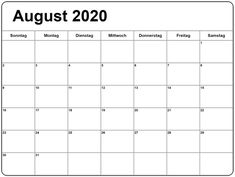 August Kalender, Free Printable Calendar, 2021 Calendar, Event Management, Printables, Spanish, German, Pdf, Events