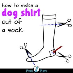 Dogs- DIY Dog Crafts- How to make a dog shirt out of a sock Crochet Dog Sweater Free Pattern, Knit Dog Sweater, Small Dog Sweaters, Dog Clothes Patterns, Puppy Clothes, Dog Coats, Dog Shirt, Dog Accessories, Couture