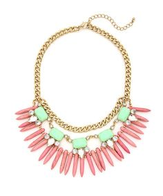Tribal Siren Statement Necklace - Mint and Pink $17