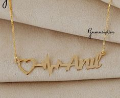 Personalized handmade jewelry by Alpdesignn Name Necklace, Gold Necklace, Personalized Necklace, Etsy Seller, Handmade Jewelry, Creative, Bracelets, Unique, Gold Pendant Necklace