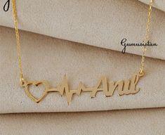 Personalized handmade jewelry by Alpdesignn Name Necklace, Gold Necklace, Personalized Necklace, Etsy Seller, Handmade Jewelry, Unique, Bracelets, Creative, Stuff To Buy