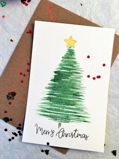 Set of 5 Cards Merry Christmas Greeting Card Handmade Card Watercolor Christmas Tree Card Tra. Set of 5 Cards Merry Christmas Greeting Card Handmade Card Watercolor Christmas Tree Card Traditional Simple Minimalist Christmas Card Painted Christmas Cards, Simple Christmas Cards, Christmas Card Crafts, Homemade Christmas Cards, Handmade Christmas Tree, Christmas Greeting Cards, Greeting Cards Handmade, Reindeer Christmas, Christmas Sentiments