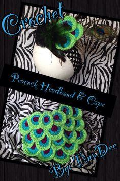 Newborn Peacock photo prop set headband & cape  Crochet By: TinaDee