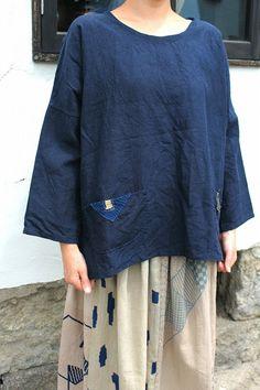 アンティークリネン×染 長袖 うわっぱり(青藍色/2ポケット) [TOPS-261]