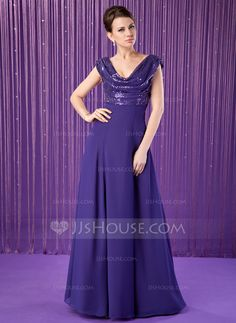 A-Line/Princess Cowl Neck Floor-Length Ruffle Zipper Up at Side Cap Straps Sleeveless 2013 Regency Spring Summer General Plus Chiffon Sequined Mother of the Bride Dress