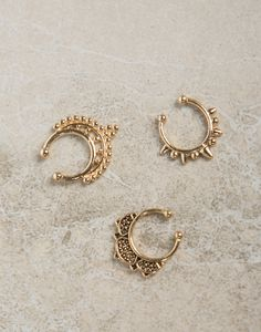 Triple Faux Septum Ring Set - Nose Rings - Silver Ring - Gold Ring – Jewelry – 2020AVE