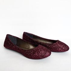 Burgundy Flats - Dark Red Glitter Shoes - Maroon Ballet Flats - Sparkly Wedding Shoes - Red Prom Shoes - Glitzy Flats - Wine Red Slip Ons