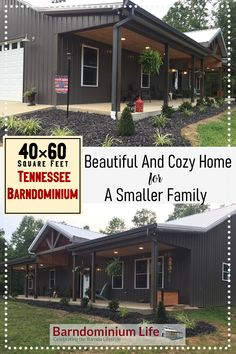 Here's another featured beautiful and cozy home for a smaller family. This 40×60 Tennessee Barndominium has approximately 1300 square feet living space on the ground level, and another 400 square feet upstairs. The other half is a garage. Barn Homes Floor Plans, Metal Barn Homes, Barndominium Floor Plans, Pole Barn House Plans, Pole Barn Homes, Dream House Plans, Small House Plans, House Floor Plans, Pole Barns