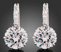 18k White Gold Clear Swarovski Crystal Zircon Earrings