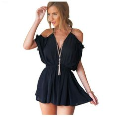 cc69bc17f63 New Summer Sexy Strap V Neck Cold Shoulder Jumpsuit Romper Women Backless  Tie Back Playsuits Lace Up Beach Overalls(Black
