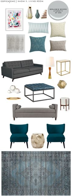 LIVING ROOM   TOTAL | $4,597       LAMP OPTIONS   one  $249   two  $169     ACCESSORIES   lantern  $59    blue vase  $24  ...