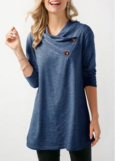 Button Detail Cowl Neck Long Sleeve Sweatshirt US$33.26 liligal.com...would be a cute sewing project with a thin or stretchy denim material