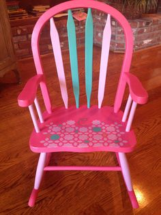 Little girls rocking chair. Pine rocker painted with Annie Sloan chalk paints.