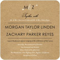 invitation option from weddingpaperdivas  Signature White Wedding Invitations Kraft Arrow - Front : Marigold