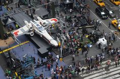 'Life-Size' X-Wing Starfighter, World's Biggest Lego Model, Lands in NYC - The Star Wars-themed, 6,000-lb, 5 million brick spacecraft took 32 people more than 17,000 combined hours to snap together, and arrived in 34 sections by container ship from Kladno, Czech Republic.