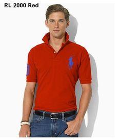 Ralph Lauren Men Slim-Fit Big Pony Polo Red Blue Polo Rouge, Ralph Luaren 2b40a9ef5906