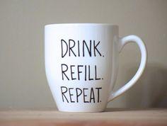 drink refill repeat mug coffee lover mug by simplymadegreetings