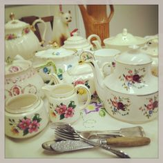 Some of the crockery we have collected for our Vintage Tea Room