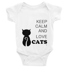Keep Calm and Love Cats Baby Infant Clothes Short Sleeve One-piece 3-24 months