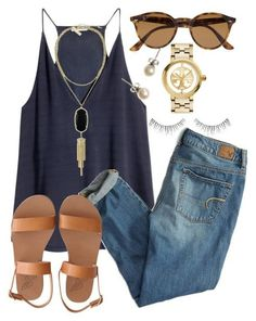 How To Style Boyfriend Jeans Perfect Summer Chic Fashion. Tori Burch Watch, Ray Bans, And Pearl Drop Mode Outfits, Casual Outfits, Fashion Outfits, Womens Fashion, Fashion Trends, Casual Summer Outfits Women, Casual Wear, Summer Casual Styles, Casual Summer Clothes