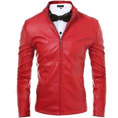 Para hombre de la motocicleta de la chaqueta de gamuza sólido estilo negro rojo de imitación de cuero chaquetas hombres corea Slim Fit para hombre de la capa de ropa de marca hombre(China (Mainland))