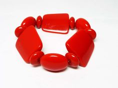 Fall Sale - Marked Down 20% ! #GiftIdeas FALL SALE - 20% off -  Red Stretch Bracelet - 1980's Retro Statement #Jewelry - Lucite Retangles & Circles offered by TheJewelSeeker  Style:   Yummy stretch bracelet with mu... #vintage #jewelry #teamlove #etsyretwt #ecochic #thejewelseeker