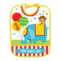 Circus Party! Such cute stuff for a Carnival or Circus theme for a birthday party! http://store.watkinspartystore.com/birthday-generic-circus  First Birthday Circus - Bib