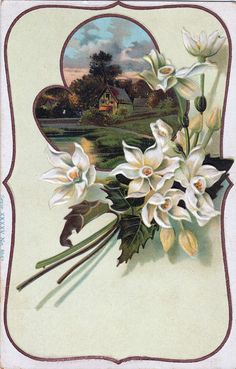 This vintage card features a charming cottage framed with a bouquet of ...