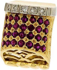 RUBIN-RING. Rötliches Gold 750 u. Platin. 28 echte Rubine u. 5 kl. Diamanten. Grösse 53, Gesamtgew