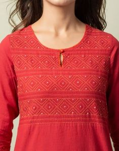 Silk Kurti Designs, Salwar Neck Designs, Kurta Designs Women, Kurti Designs Party Wear, Embroidery On Kurtis, Kurti Embroidery Design, Embroidery Neck Designs, Collar Kurti Design, Kurta Neck Design