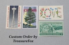 Reserved Custom Order for Samantha. Unused Vintage US Postage Stamps for mailing wedding invitations by TreasureFox on Etsy