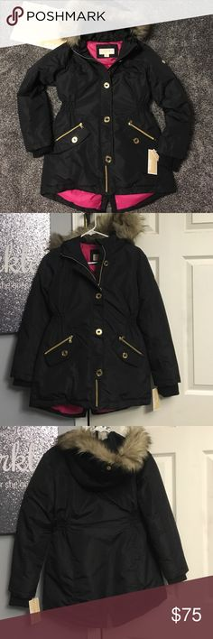 Michael kors winter coat NWT black with gold hardware *****this can be a kids 14 or a womans XS****** fur lined hood, very warm inside, buttons and zips, open to reasonable offers, no trades Michael Kors Jackets & Coats
