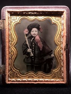 TINTED 1/9 PLATE AMBROTYPE - CUTE BOY HOLDING TOY RIFLE IN A THERMOPLASTIC CASE | eBay Daguerreotype, Cute Boys, Victorian, Plates, Toys, Children, Painting, Ebay, Art