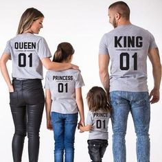 Family Look Dad Mom Kid matching outfits mommy and me clothes mother daughter dresses Fashion T-Shits King Queen prince princess Mommy And Me Shirt, Mommy And Me Outfits, Baby Boy Outfits, Kids Outfits, Couple Outfits, Matching Family T Shirts, Family Tees, Matching Outfits, Matching Clothes