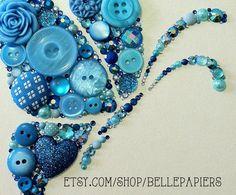 Button Art Butterfly button & Swarovski Crystal por BellePapiers