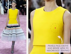 Bust Shaping with Panel Lines at Dior | The Cutting Class. Christian Dior, SS15, Haute Couture, Paris, Image 6. Panels pass above and beside apex to absorb bust shaping.