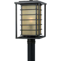 Quoizel JO9010IB Jonathan 1-Light Outdoor Post Lantern, Imperial Bronze by Quoizel. $177.99. Contemporary Design Style. Champagne Marble Glass Shade. 16.5-Inch H; 10-Inch W. Imperial Bronze Finish. Uses (1) 150W Bulb. From the Manufacturer                This chic design works well for either contemporary or Arts and Crafts style homes. The geometric ironwork is simple, yet striking, while the champagne marble glass softens the light, reducing glare and hot spots. It prov...