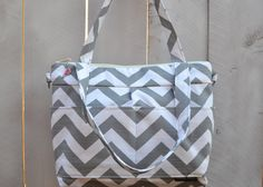 Pro Size Camera bag in Grey Chevron market sack style / cross body messenger Waterproof base, by Darby Mack Made in America, In STOCK