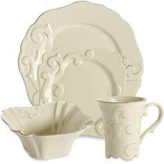 Casafine Arabesque Dinnerware Collection in Cream - BedBathandBeyond.com.  sc 1 st  Pinterest & Daniel Cremieux Home \