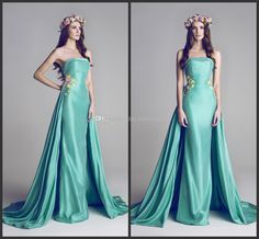 Wholesale Evening Dresses - Buy Green Satin Evening Dress 2014 Vestido De Noite Strapless Sleeveless Backless Applique Peplum A-Line Sweep Train Prom Party Dresses T4, $127.17 | DHgate