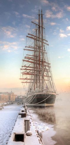 """épinglé par ❃❀CM❁✿⊱барк """"Седов"""" by Ed Gordeev (Barque """"Sedov"""", St Petersburg, Russia) Bateau Pirate, Old Sailing Ships, Classic Sailing, Scenery Pictures, Old Boats, Boat Painting, Wooden Ship, Sail Away, Wooden Boats"""