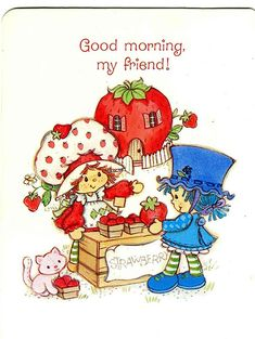 ♥ Emily Erdbeer & Friends ♥ Strawberry Shortcake and Blueberry Muffin Strawberry Shortcake Cartoon, Strawberry Shortcake Cheesecake, Homemade Strawberry Shortcake, Strawberry Desserts, Hello Kitty, Blue Berry Muffins, Retro, Friends, Short Cake