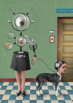 Randy Mora ilustrací surrealistická koláž