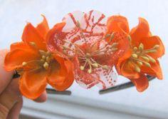 Katie Harris  Headband with Three Fabric Flowers Sunshine by NekozukiYarns, $12.00