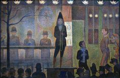 """Georges Seurat: """"Parade de cirque"""" (Circus Sideshow), 1887 - oil on canvas, Dimensions: × cm × 59 in), Current location: Metropolitan Museum of Art Georges Seurat, Metropolitan Museum, Seurat Paintings, Art Paintings, Great Works Of Art, Arts Integration, Yayoi Kusama, Sideshow, Tour Eiffel"""
