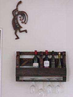 Handmade Pallet Wine Rack with  Wine Glass by onestrawrevolt, $75.00