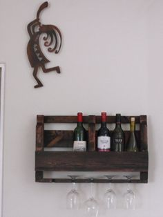 Handmade Pallet Wine Rack with  Wine Glass by onestrawrevolt, $75.00