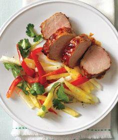 Glazed Pork Tenderloin With Pineapple Slaw recipe
